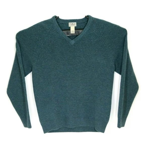 LL Bean Mens M Green Soft 100% Lambs Wool Sweater